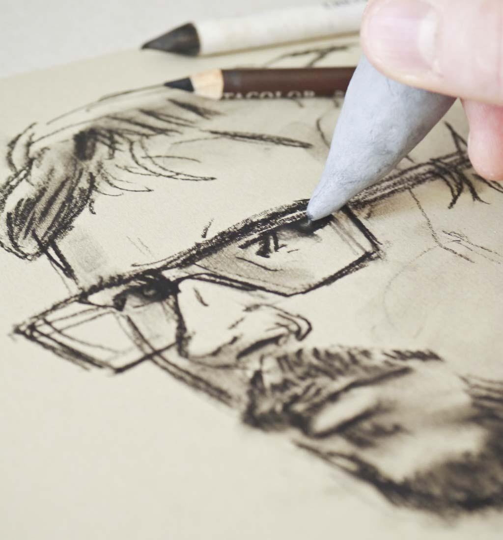 Knetgummi sortkridt portræt