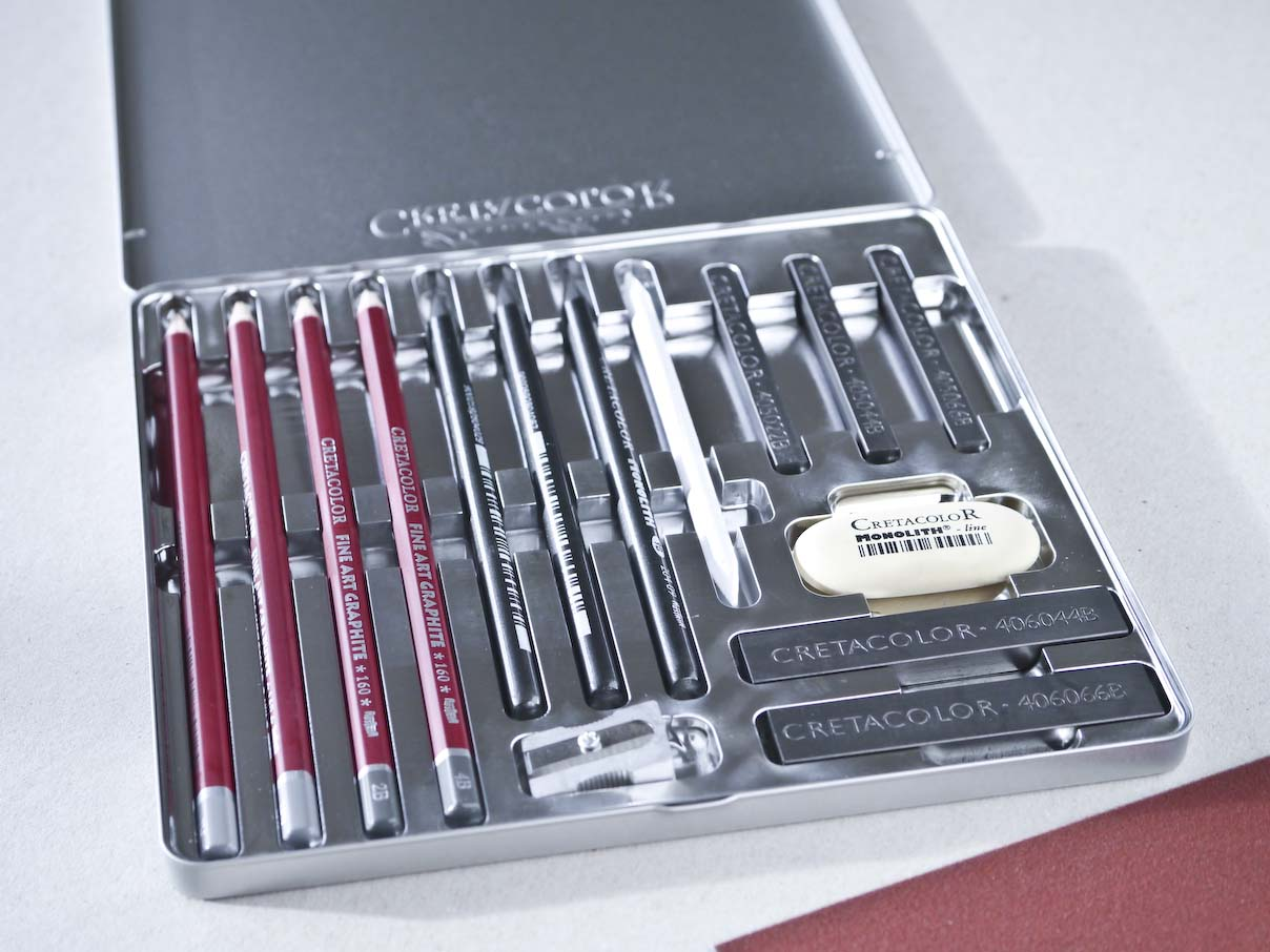 Cretacolor Silver Box Graphite Drawing Set Metalæske