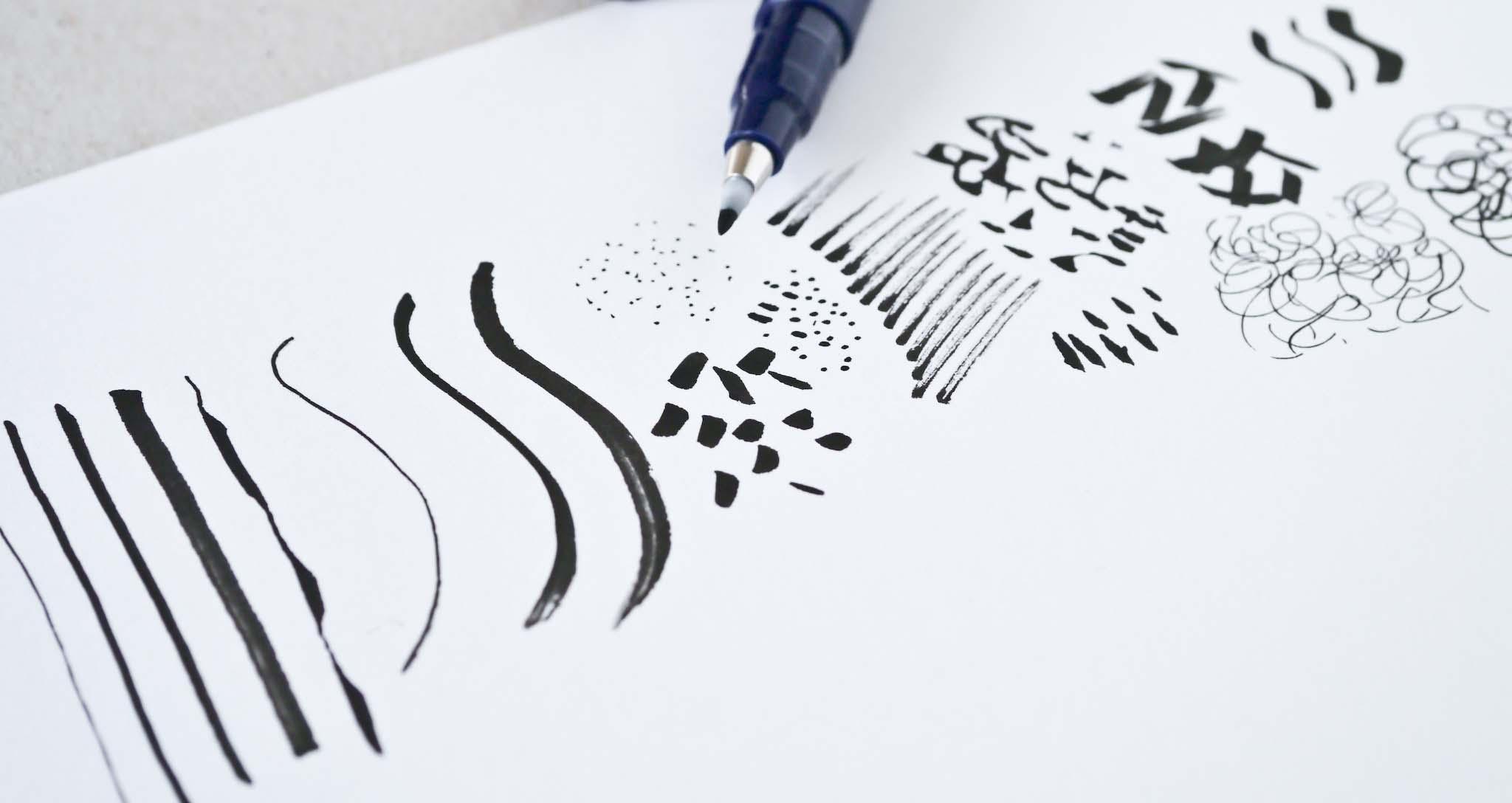 Tombow Fudenosuke Brush Pen Sort streger strøg