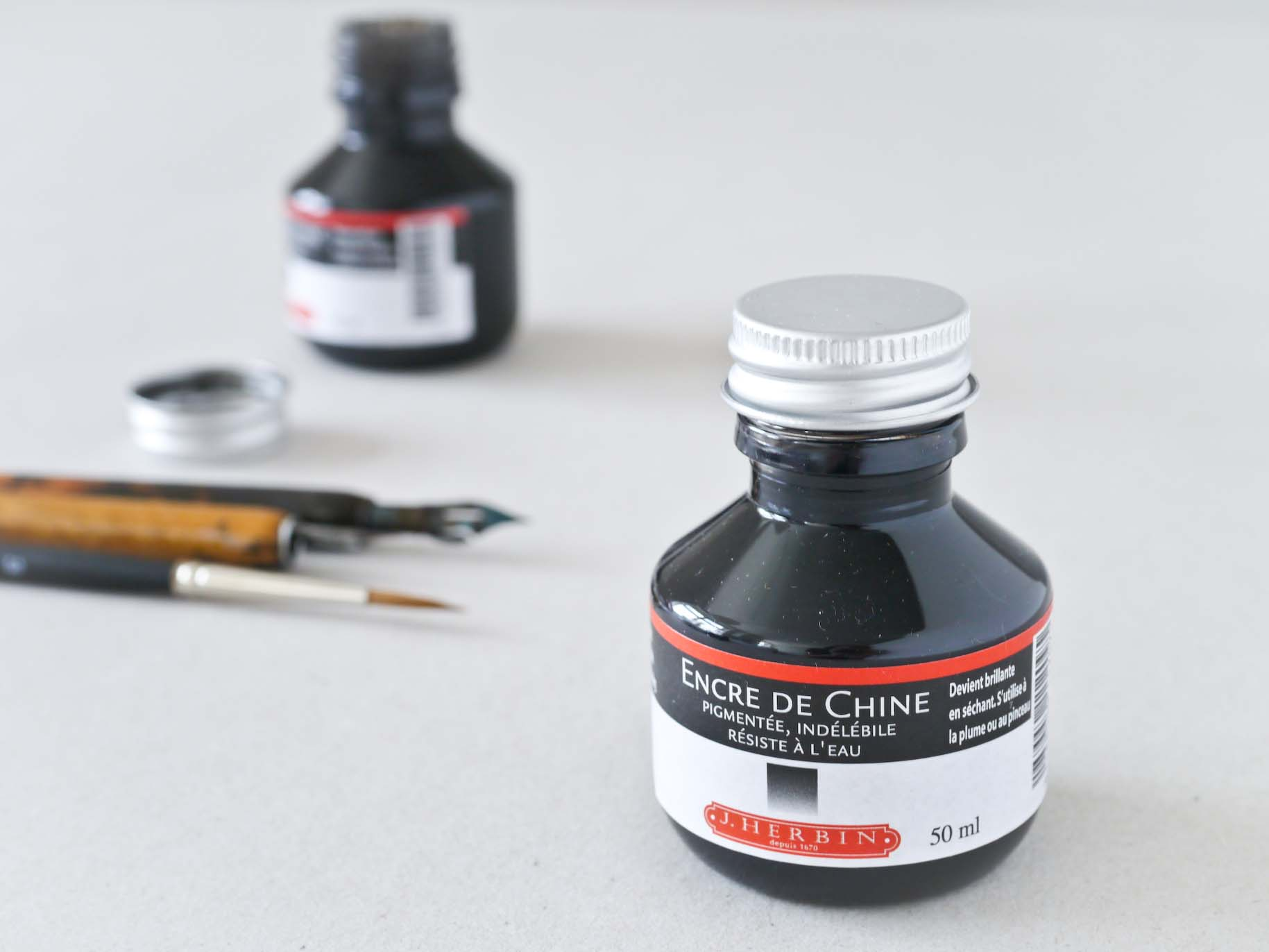 J Herbin India Ink 50 ml Encre de Chine Kinesisk tusch